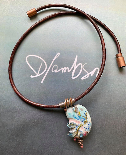 Short collar style pendant with Handcrafted glass/copper