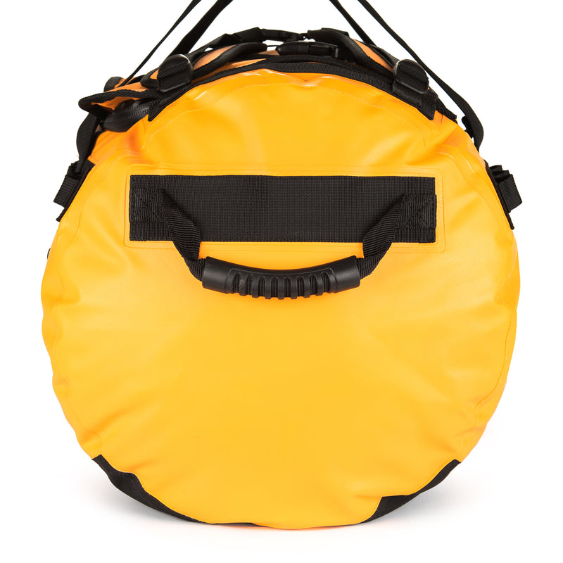 yellow 90L duffel bag