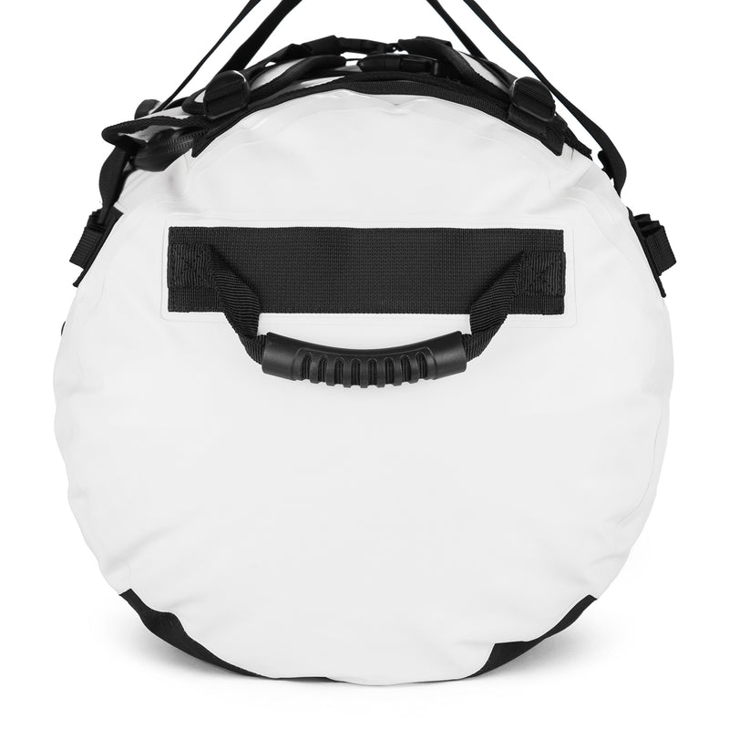 white 90L duffel bag