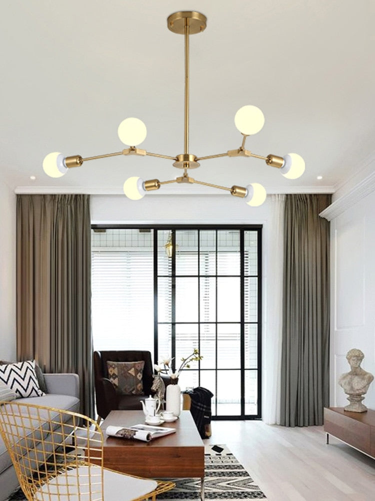 Kinoeda 6-Light Sputnik Modern Chandelier - Available in Gold & Black