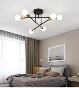 Seiza II 6-Light Mid-Century Modern Sputnik LED Ceiling Chandelier - Available in Black, Gold & White