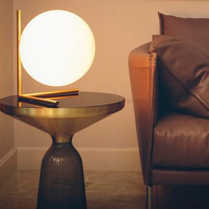 Short Glass Ball and Brass Table Lamp