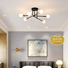 Load image into Gallery viewer, Seiza II 6-Light Mid-Century Modern Sputnik LED Ceiling Chandelier - Available in Black, Gold & White
