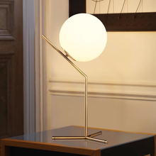 Load image into Gallery viewer, Tall Glass Ball and Brass Table Lamp