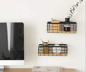Metal and Wood Wall Mounted Organizer