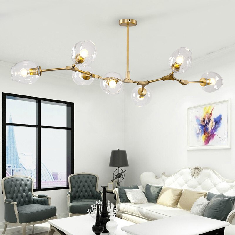 Awa Art Deco Bubble Chandelier in Gold