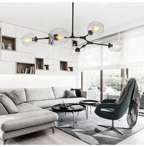 5 light contemporary, modern chandelier in black metal and clear glass lamps