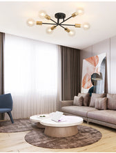 Load image into Gallery viewer, black and gold sputnik mid-century modern chandelier
