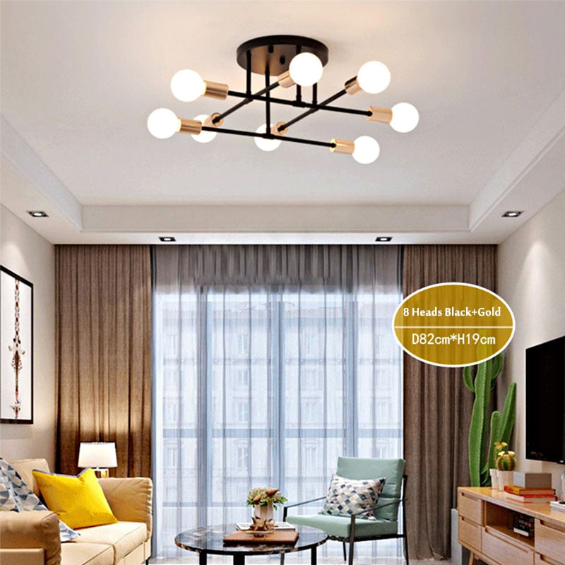 8-Light Mid-Century Modern Sputnik LED Ceiling Chandelier