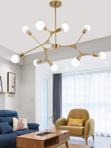 kinoeda sputnik chandelier mid century modern light living room home decor scandinavian gold brass