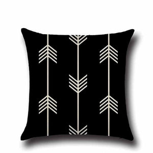 Linen Cushion Cover in Black & Beige Geometric Pattern