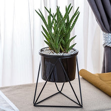 Load image into Gallery viewer, Small Geometric Plant Pot + Metal Stand