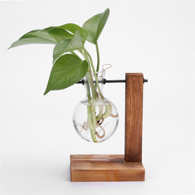 Glass and Wood L-Shaped Vase and Stand