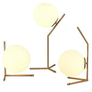 Tall Glass Ball and Brass Table Lamp