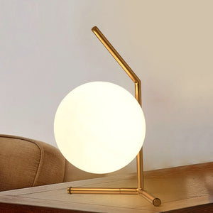 Glass Ball and Brass Table Lamp