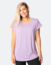 active happy mum wearing a relaxed fit lavender tee with wide armholes for breastfeeding