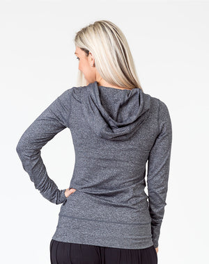back view of a pregnant mum wearing a grey activewear breastfeeding hoodie