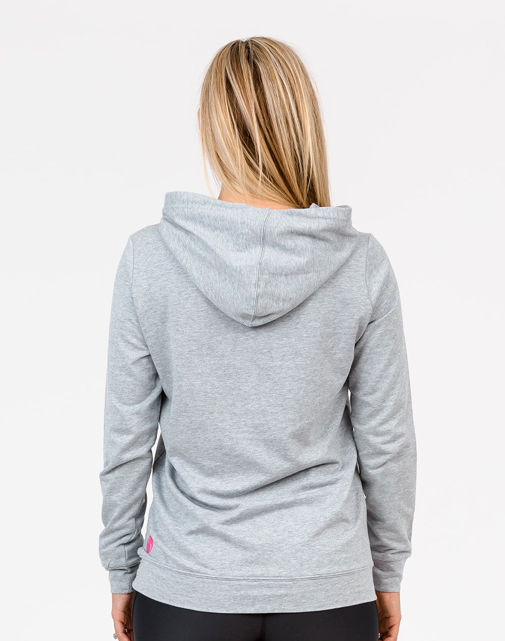 back view of a mum in a grey casual breastfeeding hoodie