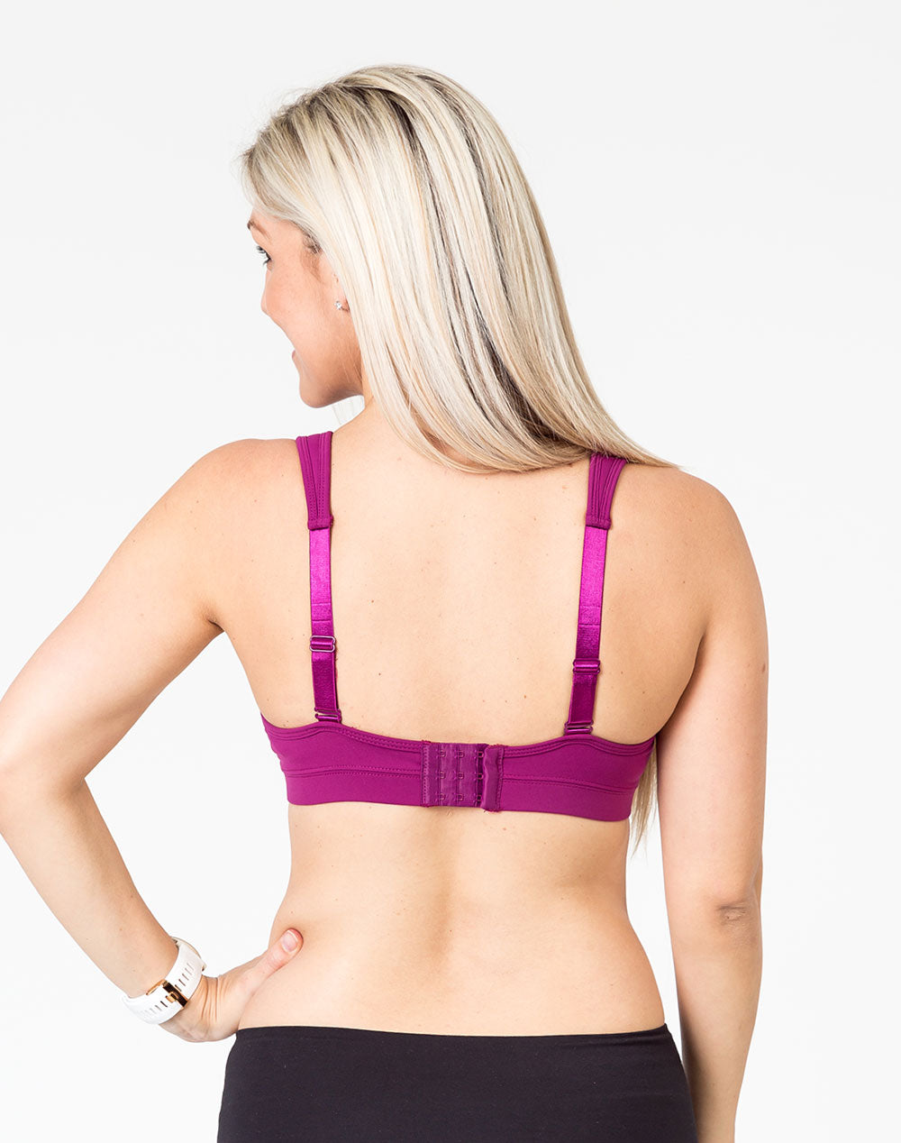pregnant mum wearing a plum playtime bra back view with option to wear as a normal bra