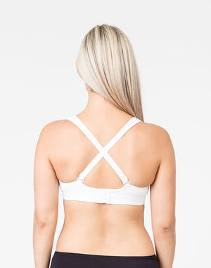 back view of a pregnant mum wearing a white playtime bra with the option to cross straps over