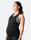 pregnant woman wearing a black breastfeeding tank
