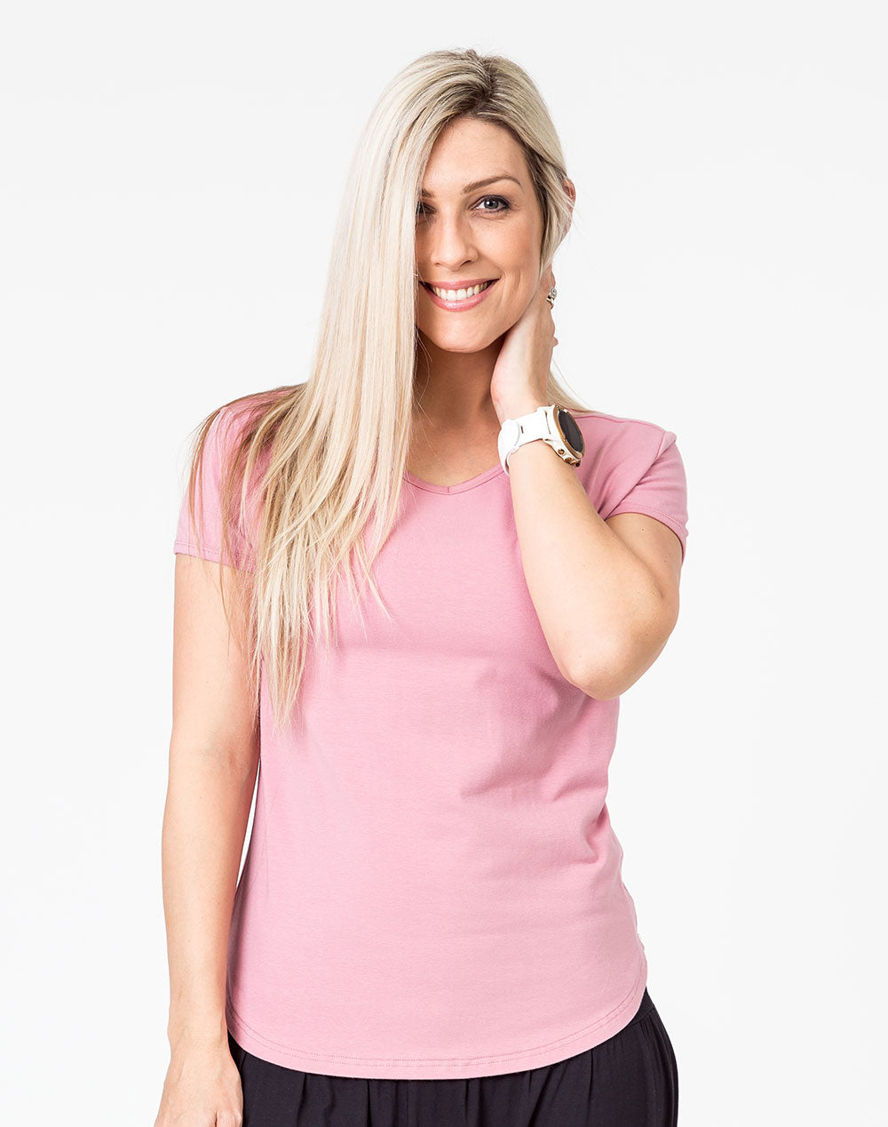 Breastfeeding T-Shirt - Scoop Tee Rose Pink