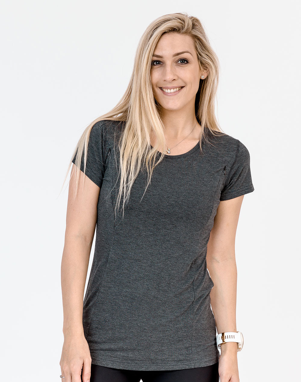 active mum wearing a grey breastfeeding t-shirt