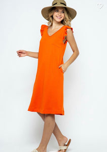 Orange ruffle sleeve V-neck Dress
