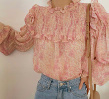 Load image into Gallery viewer, Pink ruffle sheer blouse
