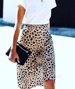 Cheetah midi satin skirt