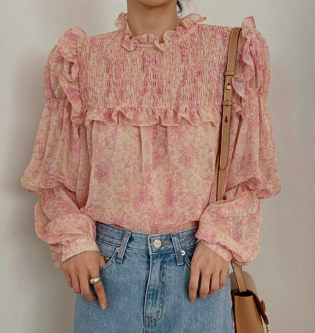 Pink ruffle sheer blouse