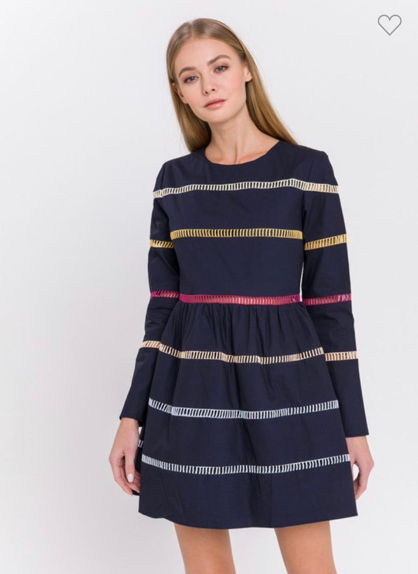 Multi color stripe navy dress