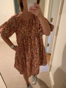 Floral Balloon Sleeve Dress- orange