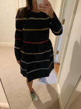 Load image into Gallery viewer, Multi color stripe navy dress