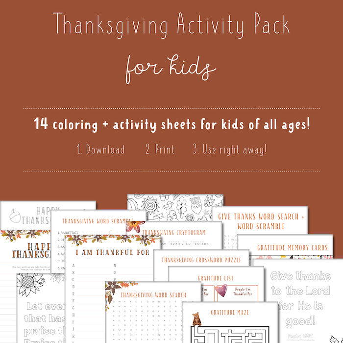 Kids THANKSGIVING Activity Pack