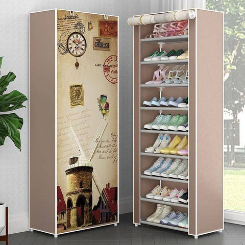 Image of 10 Tiers Hallway Shoe Organizer Oxford Cloth Dust-proof Shoes Rack Storage Cabinet For Home Furniture Saving Space Shoes Closet