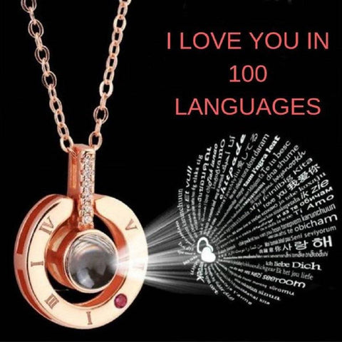 Image of 100 languages I love you Projection Pendant Necklace Romantic Love Memory Wedding Necklace