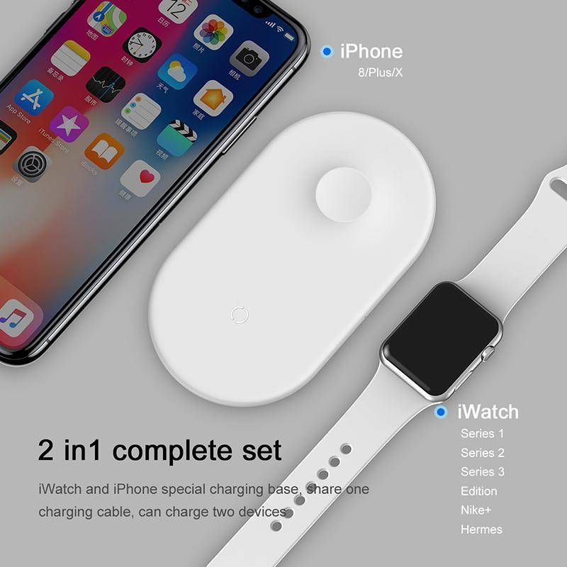 10W 2in1 Qi Wireless Charger For IPhone  Samsung Fast Wireless Charging Pad For IWatch