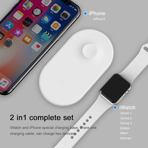Image of 10W 2in1 Qi Wireless Charger For IPhone  Samsung Fast Wireless Charging Pad For IWatch
