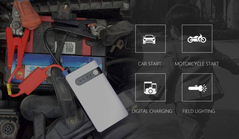 Image of 12V Portable Car Jump Starter Power Bank And Emergency Light - Jump Start Up To 2.0L Car