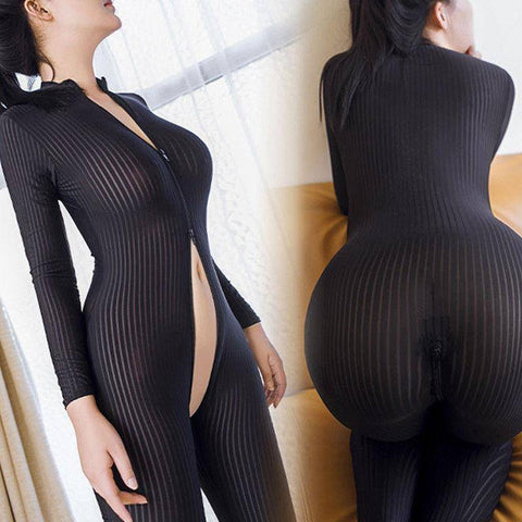 2018 Brand New Women Black Striped Sheer Bodysuit Smooth Fiber 2 Zipper Long Sleeve Jumpsuit