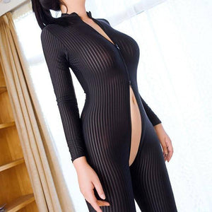 Brand New Women Black Striped Sheer Bodysuit Smooth Fiber 2 Zipper Long Sleeve Jumpsuit