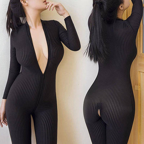 Image of 2018 Brand New Women Black Striped Sheer Bodysuit Smooth Fiber 2 Zipper Long Sleeve Jumpsuit