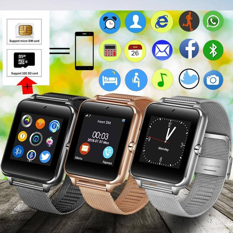 2019 New Stainless Steel Bluetooth Smart Watch Women Men Sport Waterproof SmartWatch LED Color Touch Screen Watch Support SIM TF