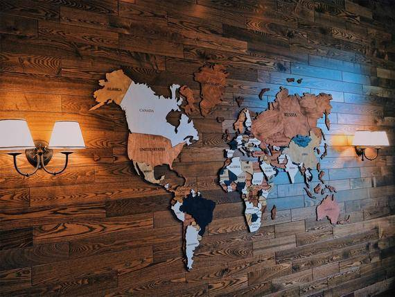 3D Wooden World Map Wall Art