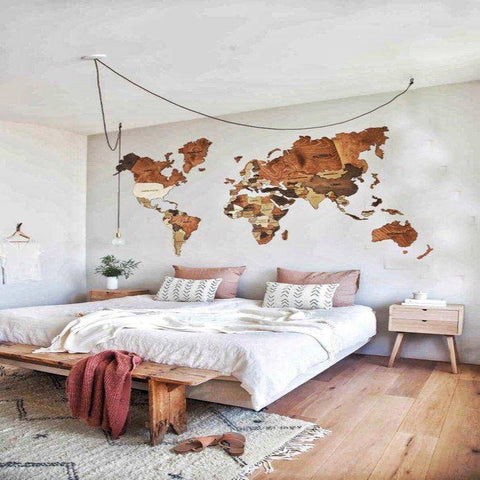 Image of 3D Wooden World Map Wall Art