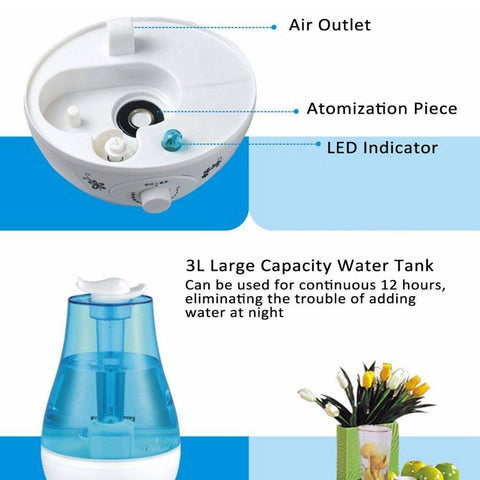 Image of 3L Ultrasonic Air Humidifier Mini Aroma Humidifier Air Purifier With LED Lamp Humidifier For Portable Diffuser Mist Maker Fogger