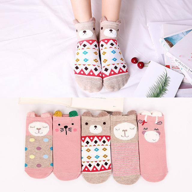 [5Pairs] Cute Women's Cotton Socks