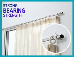 Image of 2Pcs Self Adhesive Curtain Rods White Hanger Crossbar Curtain Clips Wall Hooks