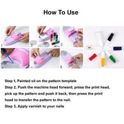 8pcs/set DIY Nail Art Printer Printing Painting Stamp Drawing Manicure Machine